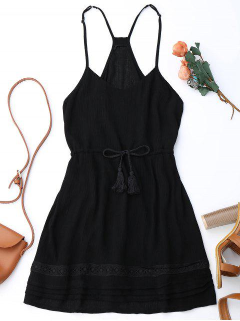 ladies Spaghetti Straps Drawstring Waist Summer Dress - BLACK M Mobile