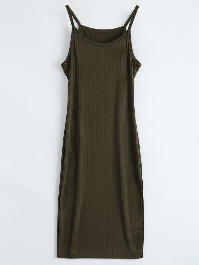 Slit Ribbed Bodycon Tank Dress