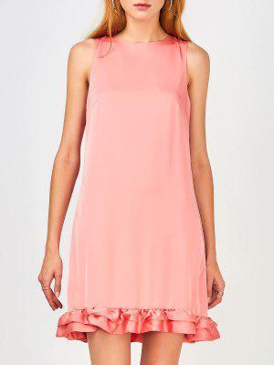 Volver Zippered Ruffles Casual Dress - Rosa Xl