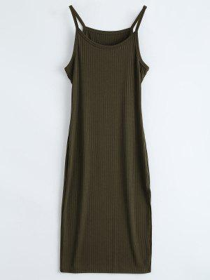 Ribbed Slit Bodycon Tank Dress - Army Green S