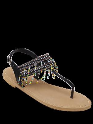 Sandales Imprimées Géométrique Frangées Embellies Perles - Noir 39
