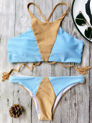Bikini à Color Block à Col Haut - Bleu Et Brun S