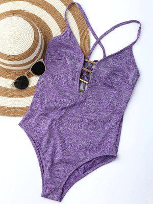 Lace Up Plunge Neck Monokini - Purple M