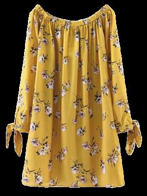 Vestido Recto De Flores Con Hombros Al Aire  - Amarillo M