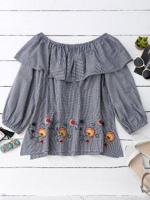 Gingham Off The Shoulder Blouse - Blue And White M