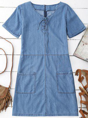 Bolsillos Mini Vestido Chambray - Azul S