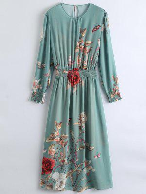 See-Through Floral Maxi Dress With Cami Dress - Pea Green M