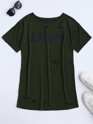 Army Cut Out T-Shirt Dress - Army Green Xl