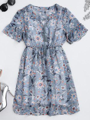 Sheer Floral Tie Neck Dress And Tank Top - Floral S