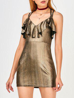 Ruffles Strappy Club Dress - Golden S