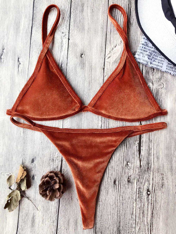 Cami Velvet String Thong Bikini Set 211904710