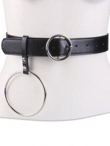 جولة دبوس معدني مشبك دائرة جلدية الخصر حزام - أسود