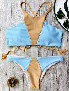 Juego De Bikini Colorblock Con Cuello Alto - Azul+marrón L