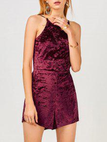Cami Open Back Velvet Romper - Wine Red Xl