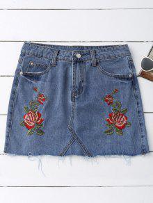 Rose Embroidered Denim Skirt - Denim Blue L