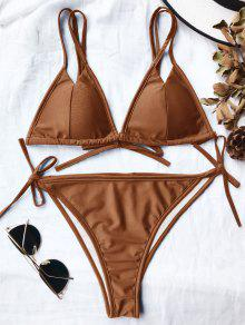 Double Straps Padded High Cut Bikini Set - Saffron Yellow S