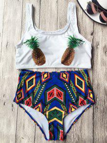 High Waist Argyle Pineapple Bathing Suit - White L