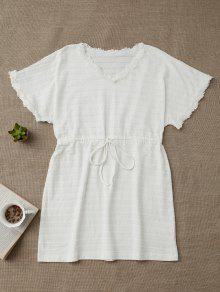 Drawstring V Neck Cutout Loungewear - White M