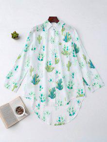 High Low Cactus Print Shirt Loungewear - White S