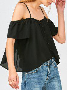 Button Up Cold Shoulder Top - Black M
