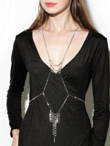 Rhinestone Layered Geometric Fringed Body Chain - Silver