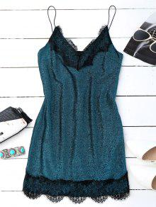Eyelash Lace Glitter Slip Dress - Bleu Canard S