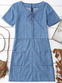 Pockets Mini Chambray Dress - Blue S