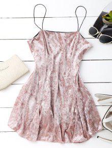 Velvet Mini Cami Patinador Vestido - Rosa L