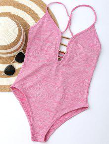 Lace Up Plunge Neck Monokini - Light Pink L