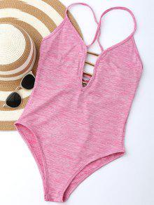 Lace Up Plunge Neck Monokini - Light Pink M