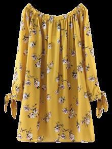 Robe Droite Imprimée Florale à épaules Dénudées  - Jaune L