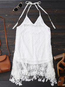 Vestido De Halter Sin Espalda De Encaje Con Flecos  - Blanco S
