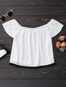 Off Shoulder Chiffon Cropped Top - White S