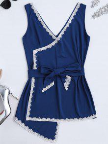 Vestido Envuelto Con Panel De Encaje Sin Manga - Azul