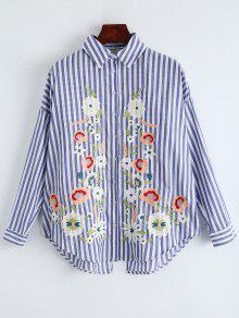 Camisa De Gran De o Raya Azul Tama Floral M Rayas Bordadas BqIWrn6wBa