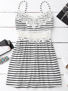 Vestido Em Camurça Em Algodão Com Acabamento Em Croché - Branco E Preto S