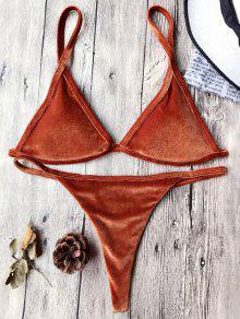 Cami Velvet String Thong Bikini Set - Jacinth M