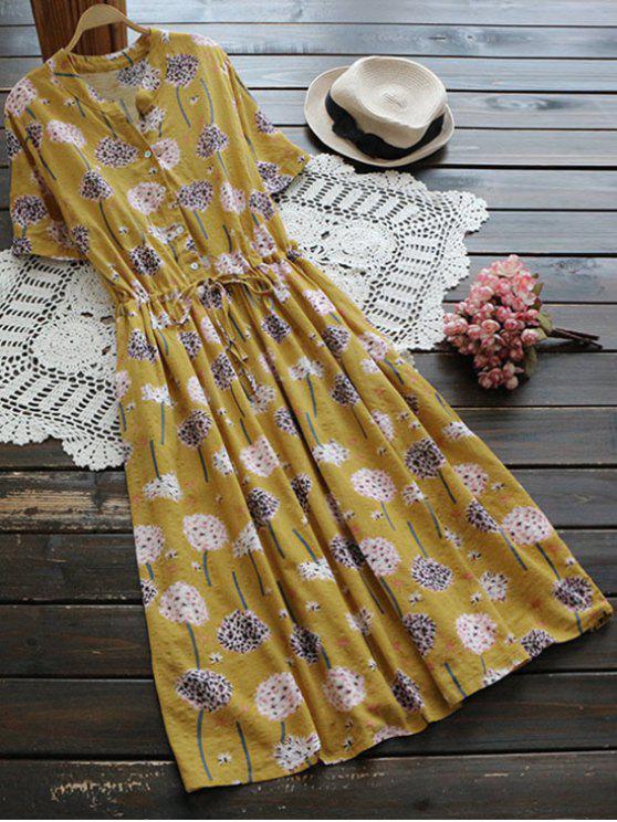 Robe de chemise florale à lacet embellie bouton - Curcumae TAILLE MOYENNE