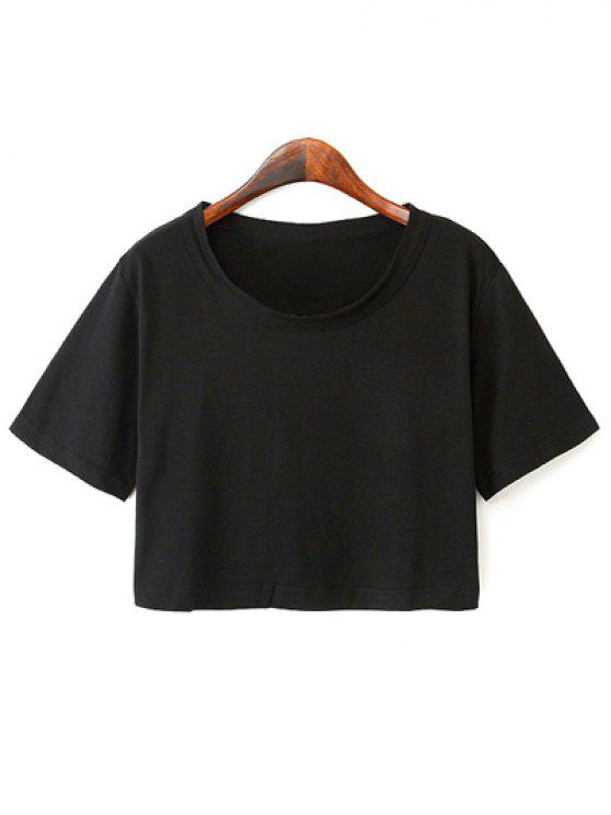 women's Solid Color Short Sleeve Jersey Crop Top - BLACK ONE SIZE