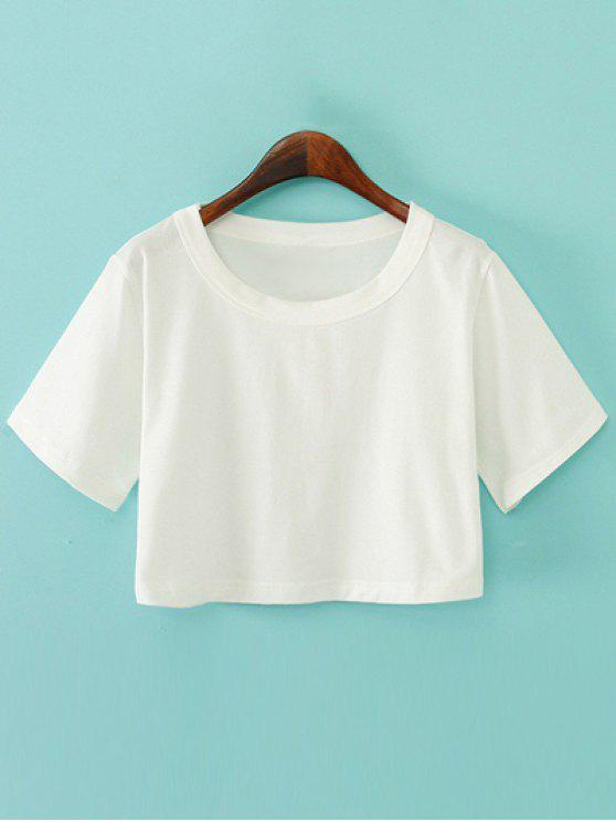 ladies Solid Color Short Sleeve Jersey Crop Top - WHITE ONE SIZE