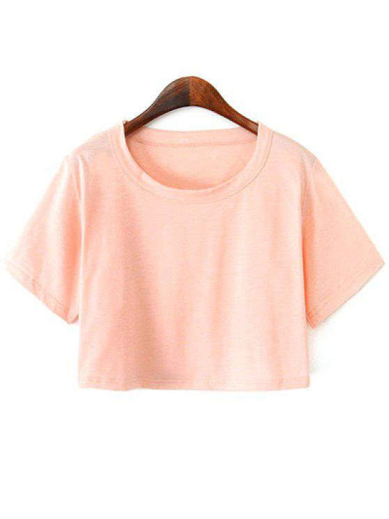 249896b3e119f3 60% OFF  2019 Solid Color Short Sleeve Jersey Crop Top In PINK