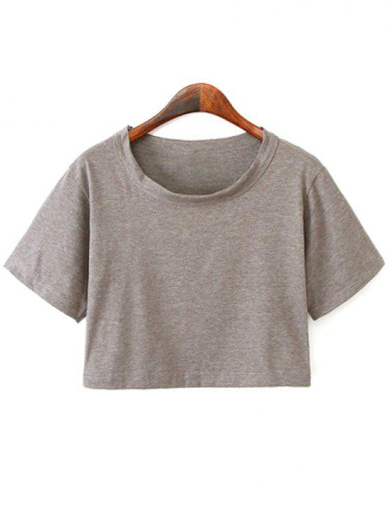 women Solid Color Short Sleeve Jersey Crop Top - DEEP GRAY ONE SIZE