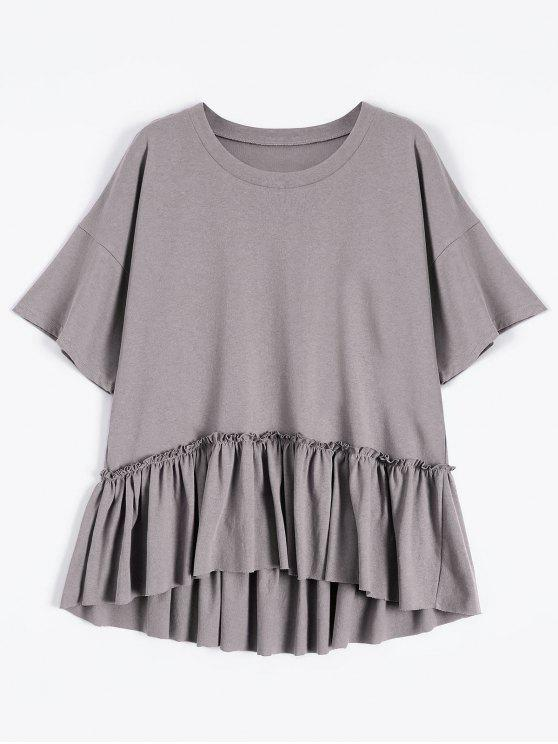 latest Short Sleeve Ruffle Hem T-Shirt - SMASHING ONE SIZE