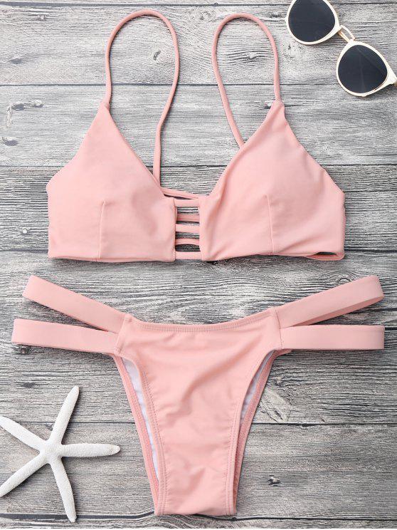 shops Lattice Banded Bralette Bathing Suit - PINK M
