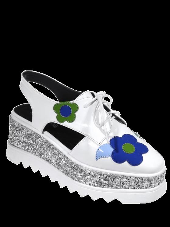 Chaussures à semelles compensées à bout carré avec décoration floral - Blanc 38