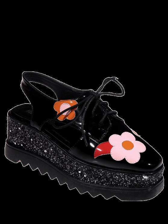 Chaussures à semelles compensées à bout carré avec décoration floral - Noir 38