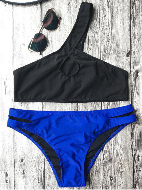 fancy One Shoulder Cutout Bathing Suit - BLUE AND BLACK S