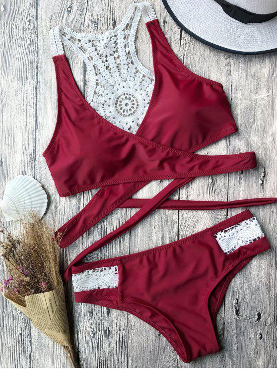 unique Contrast Lace Wrap Bikini Set - BURGUNDY S