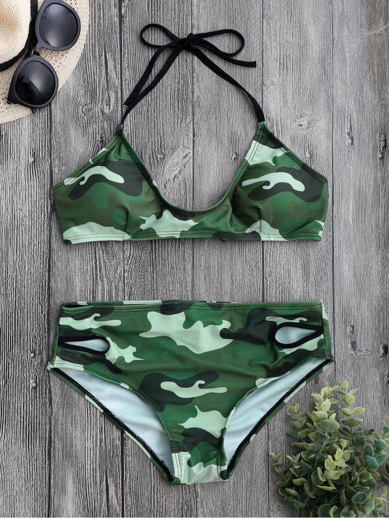 hot Back Tied Halter Camouflage Bikini Set - CAMOUFLAGE XL