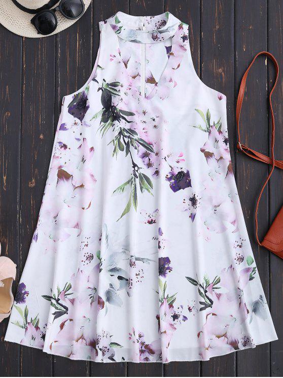 فستان بلا أكمام الأزهار متدفق عطلة - أبيض L